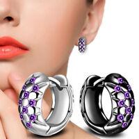 Elegant Women 925 Silver Plated Crystal Flower Ear Hoop Earrings Wedding Jewelry