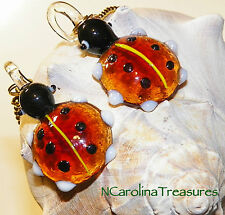 VINTAGE GLASS CEILING FAN LIGHT SWITCH PULL RED LADYBUG LADY BUG INSECT LG PAIR