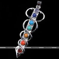 1x Snake Sword 7 Stone Healing Point Chakra Gemstone Charm Pendant For Necklace-