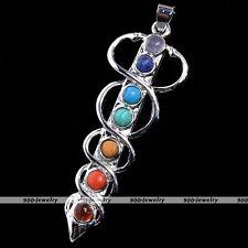1x Snake Sword 7 Stone Healing Point Chakra Gemstone Charm Pendant For Necklace