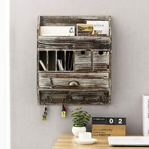 Rustic Wall Mounted Torched Wood Coat Organizer Rack w/ Mail Slots and Drawers