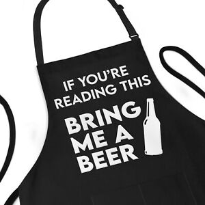 Funny Apron For Men, Bring Me A Beer, Dad Gift BBQ Cooking Grill Aprons For Him