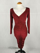Ladies Dress Size 20 Deep Red Ruched Wiggle Party Evening Wedding Stretch