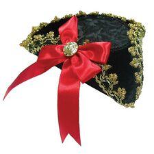 Vestido De Lujo señoras Mini Tricorn Sombrero Negro Con Moño Rojo-De Pirata Accesorio De Oro