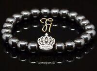 Hämatit / Hematit 8mm Armband Bracelet Perlenarmband silberfarbene Krone