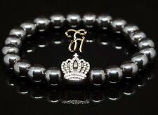 Hematite/Hematite 8mm Bracelet Pearl Bracelet Silver Coated Crown