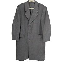 Stratojac Long Wool Trench Coat Men Size 44 Charcoal Gray Vent Made in USA