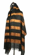 Large Elegant Striped Oblong Scarf Shawl Wrap, Black/Orange