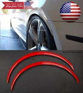 """1 Pair Red Flexible 1"""" Arch Extension Wide Body Fender Flares Lip For Dodge"""