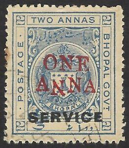 India Bhopal 1935 1a on 2a 1st N of ANNA INVERTED used SG O327b £75