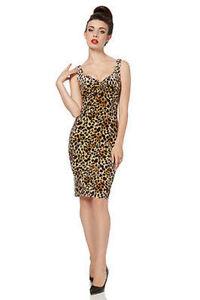 Voodoo Vixen Vivenne Classy Formal Velvet Leopard Pencil Brown Dress S-Xl