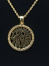 """Hebrew Life Kabbalah Cz Gold Plating Pendant With Stainless Steel 16"""" Necklace"""