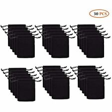 30pcs Velvet Double Drawstring Cloth Bagjewelry Pouches For Small Bagsblack