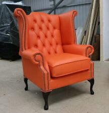 GEORGIAN CHESTERFIELD QUEEN ANNE HIGH BACK WING CHAIR ORANGE LEATHER