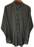 Men's Polo Ralph Lauren Blue/White Checks Button Up Down Shirt Large L/S Blake