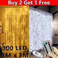 300LED Fairy Curtain String Lights Wedding Party Xmas Room Holiday  Decor Indoor