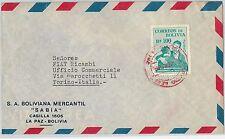 62255-BOLIVIA-STORIA POSTALE-POSTA AEREA copertura per l'Italia 1955-Rosso TIMBRO POSTALE