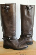 TAUPE BROWN GREY LEATHER RIDING STYLE BOOTS SIZE 4 / 37 BY JONAK WORN CONDITION