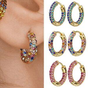 New Earrings Cerchi Di Cristallo Arcobaleno Semplice Cerchio Orecchini A Cerchio