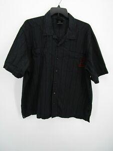 Harley-Davidson Mens Black Striped Short Sleeve Graphic Button Up Shirt Size 2XL