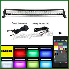 "32"" 5D CREE RGB Led Curved Offroad Light Bar MultiColor Flash & Wiring Harness"
