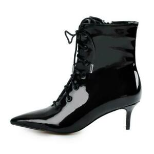 Womens Kitten Heels Ankle Bootie Pointed Toe Lace Up Evening Party Leather Boots