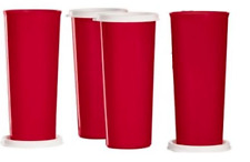 Tupperware Red Tumblers Straight Sided 4-pc Set 16-oz PLUS White Seals New