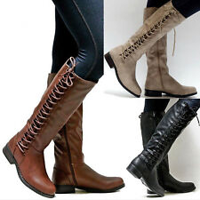 Women Knee High Stretch Lace Up Flat Boots Winter Ladies Biker Riding Shoes