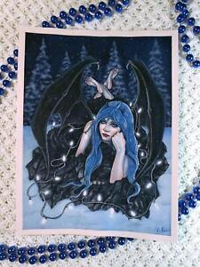 Gothic Christmas Demon ORIGINAL PAINTING Lights Snow Trees Blue Hair Winter Wing
