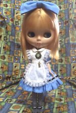 Blythe Outfit Maid dress + hairband + Socks + necklace set (blue)