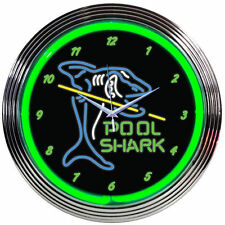 Pool Shark Neon Clock - Billiards, Pool, 8 & 9 Ball Wall Art Lighted Sign