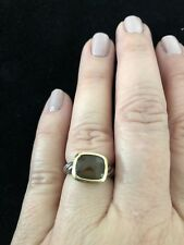 AUTHENTIC David Yurman: Noblesse Smoky Quartz Ring: Sz4.75 Sterling w/18k Gold