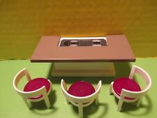New ListingPlaymobil furniture Gray & White Kitchen Island W/ Cooktop + 3 Identical Chairs