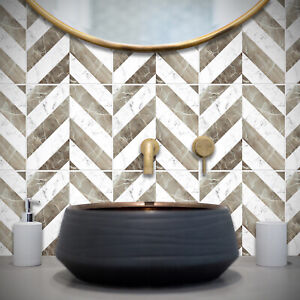 Marble Tile Stickers Transfers Modern Kitchen Bathroom 4 Colour Choices - T27