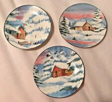 THREE NEW HANDPAINTED Small Plates of Winter-Very Pretty
