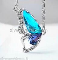 Collana farfalla acciaio brillanti cristallo pendente idea regalo san valentino