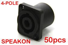 50 x 4-Pole Female Panel Mount Square Pro Speakon Connector Head Socket NL4FC