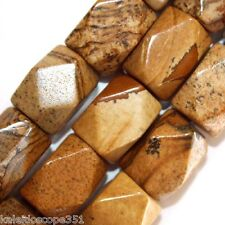 PICTURE JASPER GEMSTONE FACETED NUGGETS BEADS 13X19MM STONE BEAD STRAND SN13