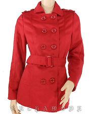 Manteau MISS LINA veste rouge Demi long ceinture Taille S / 36 / 1  NEUF