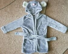 Baby Boy Girl Velour Hooded Bathrobe Mice Mouse Grey Baby Show 12-24 Month