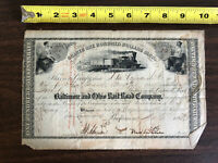1853 Baltimore Ohio Railroad Company Stock 20 Shares Cancelled Thomas Swann