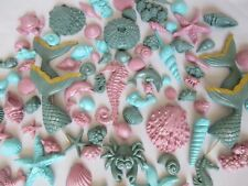 40/60/100 Edible Teal Lilac Aqua Mermaid Tail  Seashell Seahorse Starfish Sugar.