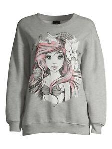 Disney Ariel Princess Mermaid Juniors Graphic Long Sleeve Sweatshirt Size Large