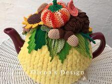 Crochet tea cozy yellow cover pumpkin mushroom pine cone acorn sunflower autumn