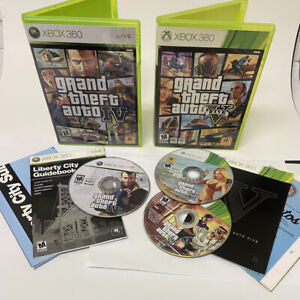 Grand Theft Auto IV + V (GTA 4, GTA 5) CIB Xbox 360 Bundle Lot Tested! Excellent