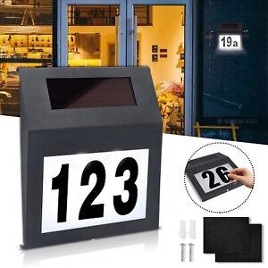 Solar Hausnummer mit LED Hausnummernleuchte Beleuchtet Anthrazit Edelstahl Außen