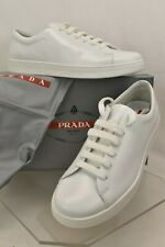 PRADA WHITE 4E2996  POLISHED LEATHER LACE UP LOGO LOW TOP SNEAKERS 10.5 US 11.5
