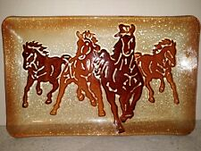 Vintage Rustic Country Cracker Barrel Horses Mustangs Glass Plate Serving Tray