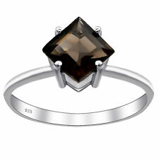 Brown Smoky Quartz Gemstone 925 Sterling Silver Solitaire Ring For Women #2411