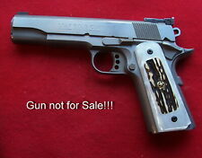 Kirinite(tm) Imitation White Pearl Grips w/Elk Inlays for Colt 1911 Models!